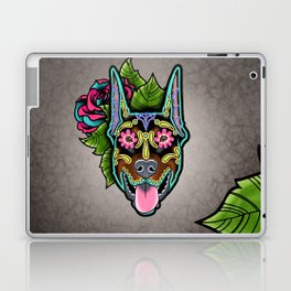 Doberman with Cropped Ears - Day of the Dead Sugar Skull Dog Laptop & iPad Skin