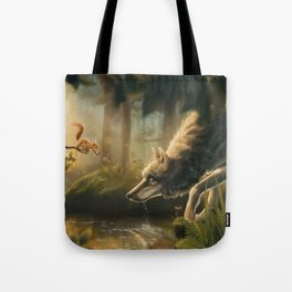 Want a Nut? (Wolf and Squirrel) Tote Bag