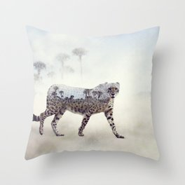 Double exposure of walking cheetah and palm trees Throw Pillow