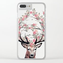 Deer and Flowers Clear iPhone Case