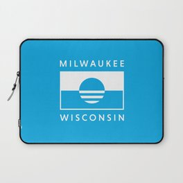 Milwaukee Wisconsin - Cyan - People's Flag of Milwaukee Laptop Sleeve