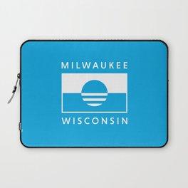 Milwaukee Wisconsin - Cyan - People's Flag of Milwaukee Laptop Sleeve