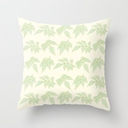 Serrated Leaf Branch Pattern Throw Pillow