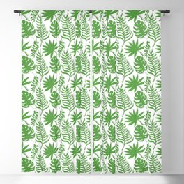 Mid Century Modern Tropical Leaf Pattern Green Gray White Blackout Curtain