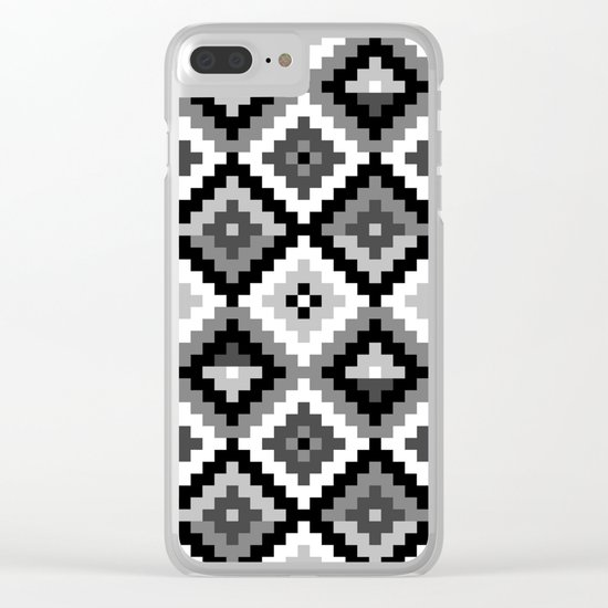 Aztec pattern - black & white Clear iPhone Case