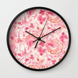Pink Paisley Wall Clock