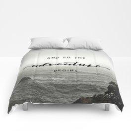 And So The Adventure Begins - Ocean Emotion Black and White Comforters