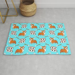 Cute cuddly funny baby corgi dogs, happy cheerful sushi with shrimp on top, rice balls and chopsticks pretty light pastel baby blue pattern design. Rug