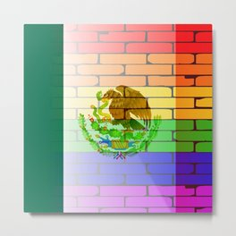 Gay Rainbow Wall Mexico Flag Metal Print