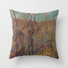 Canadian Landscape Oil Painting Franklin Carmichael Art Nouveau Post-Impressionism Silvery Tangle Throw Pillow