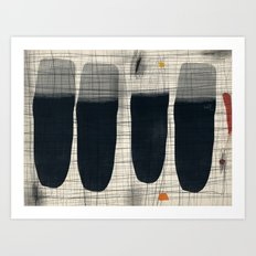 Four Test Tubes Arranged in Field with Small Teapot Art Print