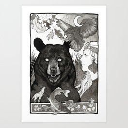 Bear, wolf, pike and falcon Art Print