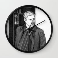 moustache Wall Clocks featuring Moustache by Alessia Pelonzi