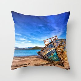 Abandoned Blue Ship at the Edge of the World Throw Pillow