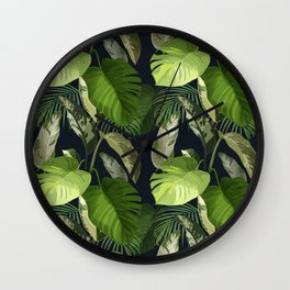 Tropical Leaf Pattern 1 Wall Clock