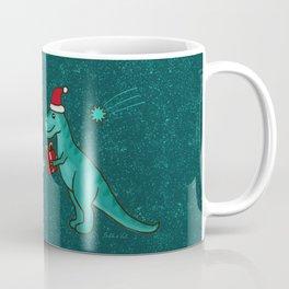 Cute Christmas Dinosaurs with Gift, Santa's Hats and Falling Stars, Teal Green Colors Coffee Mug