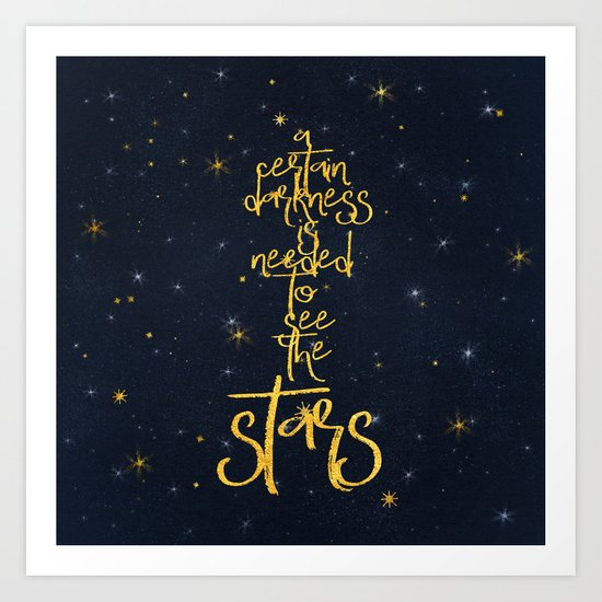 Darkness-Stars - sparkling night gold glitter effect typography on #Society6 Art Print
