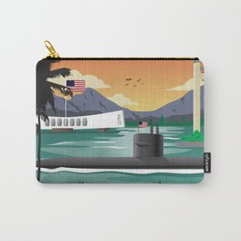 Pearl Harbor, HI - Retro Submarine Travel Poster Carry-All Pouch