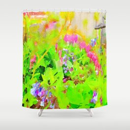 Abstract Spring Flowers Bleeding Hearts and Virginia Bluebells Shower Curtain