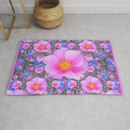 Pink Wild Roses & Blue Flowers Art Pattern Rug
