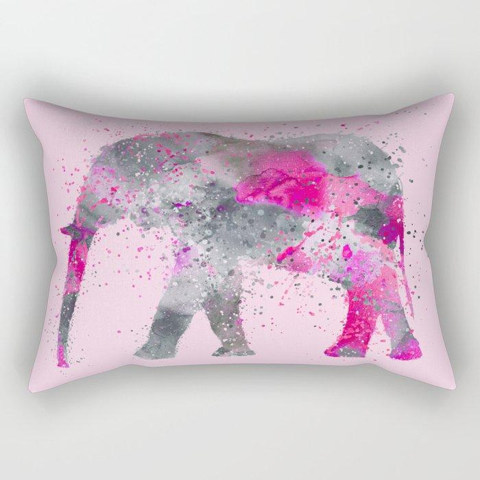 Crazy pink Elephant Paint Splatter Art Rectangular Pillow