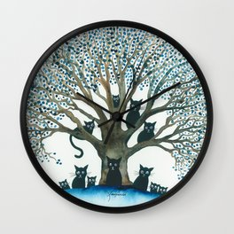 Lombardy Whimsical Cats in Tree Wall Clock