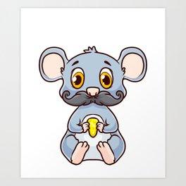 Cute & Funny Mous-Tache Mouse Pun Mustachioed Art Print
