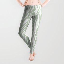 Light green herringbone pattern with cream stripes Leggings