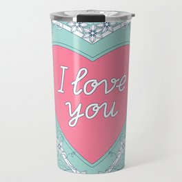pink heart with love Travel Mug