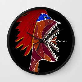 Angry Monster Side View Portrait Wall Clock