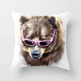 Cool shy bear Throw Pillow