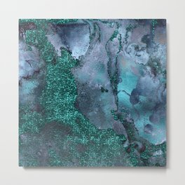 Malachite Glitter Stone and Ink Abstract Gem Glamour Marble Metal Print