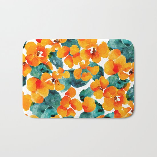 orange floral Bath Mat