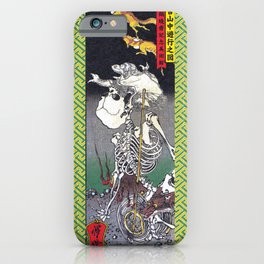 Green Kyosai Skeleton Kitsune Yokai iPhone Case