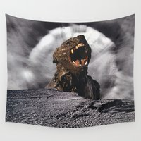 werewolf Wall Tapestries featuring Werewolf on the Moon by Lerson