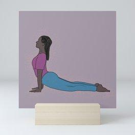 Upward Facing Dog/ Pink Background/ Yoga Poses/ Fitness/ Portrait Mini Art Print