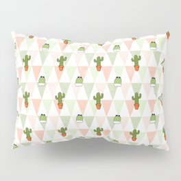 Trendy pastel coral green triangles cute cactus floral Pillow Sham