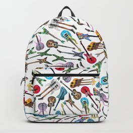 Electric Guitars on White Backpack