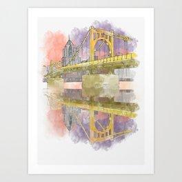 Pittsburgh Sister Bridge at Sunset Art Print