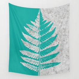 Natural Outlines - Fern Teal & Concrete #180 Wall Tapestry