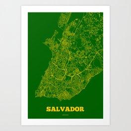 Salvador Streets Map Art Print