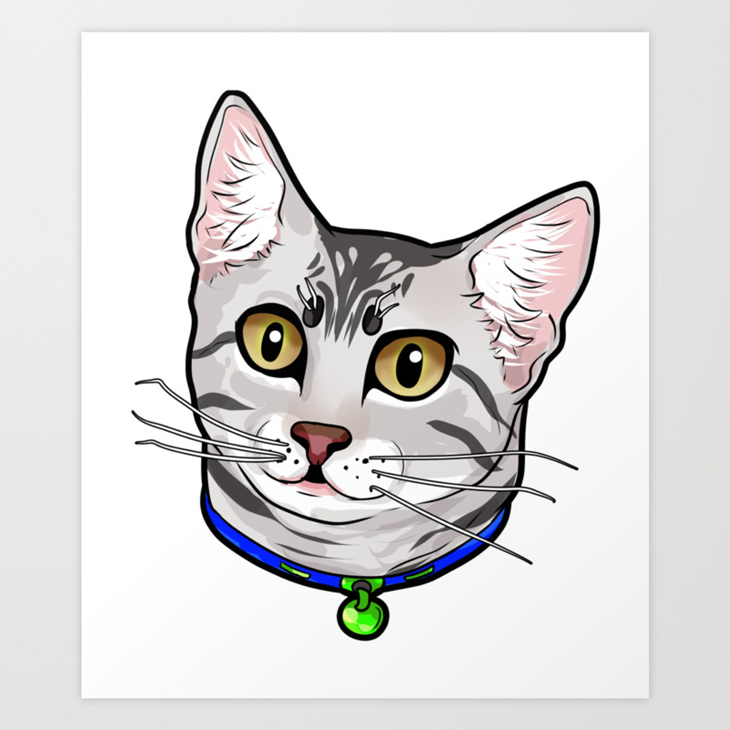 Egyptian Mau Cat Cats Face Cartoon Cute Love Gift Art Print By