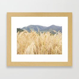 Wheat and Mountains Framed Art Print