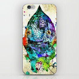Chameleon Front View Grunge iPhone Skin