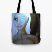 robot Tote Bags featuring Robot by Amy Bannister
