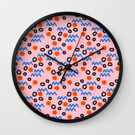 Bro - abstract retro pattern squiggle dot lines grid pink red children 1980s 80s throwback pop art Wall Clock