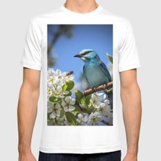 Blue Bird on Cherry Tree Branch Mens Fitted Tee MEDIUM White