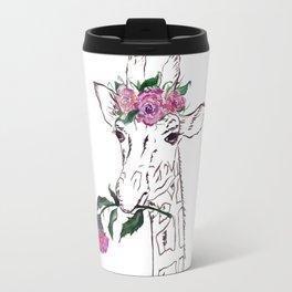 Giraffe, Giraffe with flower, animal, nature Travel Mug