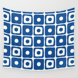 Mid Century Square Dot Pattern Blue Wall Tapestry