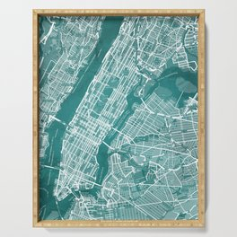Turquoise Teal Wall Art Showing Manhattan New York City, Brooklyn and New Jersey Serving Tray